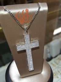 """Cross necklace, 18"""", silver,cz Mayfield Heights, 44124"""