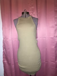 beige corduroy sleeveless mini dress