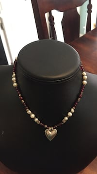 Sterling Silver Heart Pendant with Freshwater pearls and Garnets  Ruston, 71270