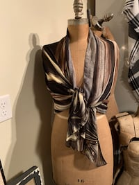 Shawl large scarf black brown taupe grey tones Wilmot, N3A