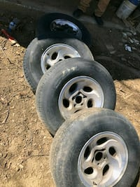 four gray 5-spoke car wheels with tires Catskill, 12414