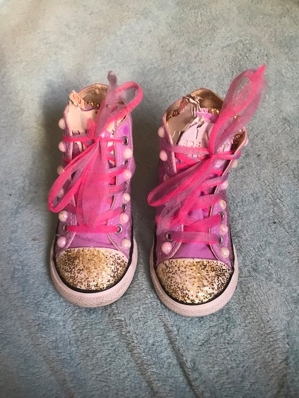 4e88034d81ed Used Glittery Lavender converse sneakers for little girl for sale in New  York - letgo