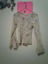 gray and biege floral sweater
