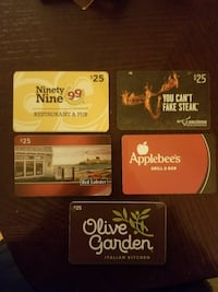 five assorted gift cards
