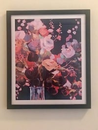 White and red petaled flower painting from west Elm Portland, 97209