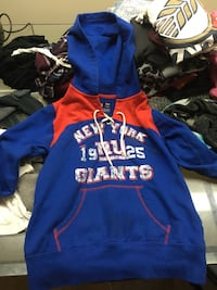 blue and orange New York Giants print pullover jacket