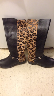 black-and-brown cheetah print leather cowboy boots