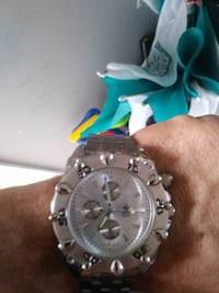 round silver chronograph watch with black strap Pensacola, 32505