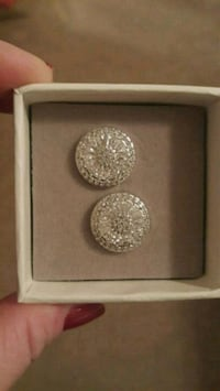CZ diamond disc earrings