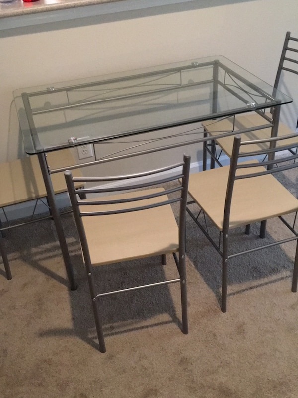 Used Black Metal Frame Glass Top Table For Sale In Durham