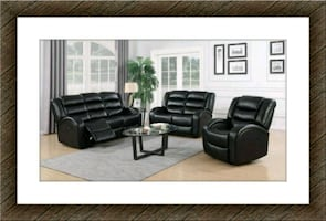 Black faux leather new recliner sofa and loveseat