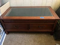brown wooden framed glass top coffee table Los Angeles