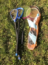 Youth lacrosse sticks and 6 badminton