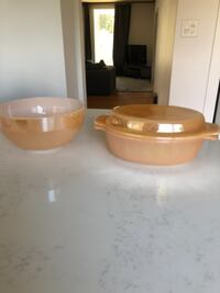 Fire king bowl and casserole dish w lid CALGARY