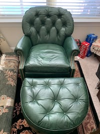 Green Leather Chair and Ottoman Charlotte, 28211