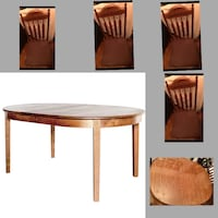 $4,859.00 NEG. TABLE & 4 CHAIRS - Oval 4-Leg Table in Cherry with Mahogany Wash & 4 Micro Fibre Suede Chair Set  - A versatile option for either kitchen or dining room, the Oval dining table is an old standard. With its substantial legs, weighty skirt and