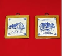 Lot of two vintage framed Delft style blue and white tiles Mississauga, L4X 1S2
