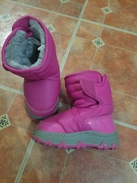 pink leather snow boots