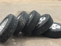 Five tires with rims. Jeep Wrangler.  19 1/2 inch rims. 1/4 inch tread x 4 tires and 1/2 inch tread on spare.  Tire size: LT275/70R18 Albuquerque, 87120