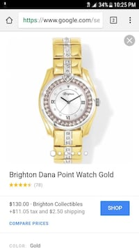 round gold analog watch with gold link bracelet sc