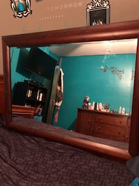 Brown wooden framed wall mirror New York, 10456