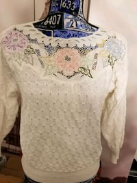 White embroidered sweater with detail Alexandria, 22304