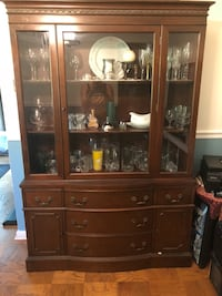 brown wooden framed glass display cabinet Chantilly, 20151