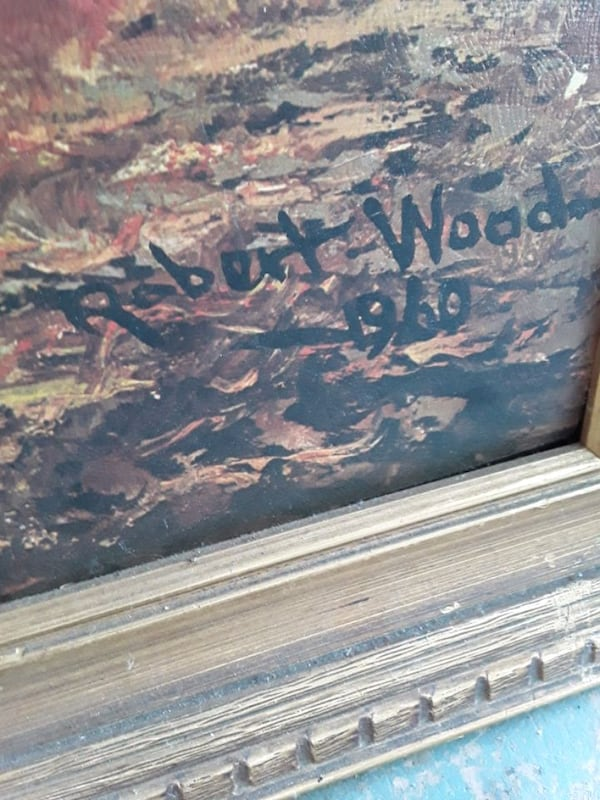 Vintage 1960 Painting by Robert Wood Signed 513326e1-9299-4448-a60f-3c8d11b68265