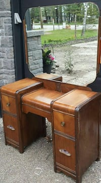 Vintage Waterfall Walnut Vanity and mirror  Collingwood