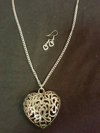 Silver heart long necklace and earrings  1219 mi