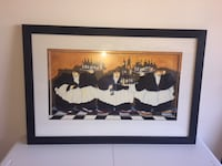 "Artwork - Black framed picture of ""3 waiters with wine Trays"" Lansdowne"