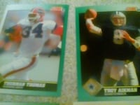 two american football trading cards
