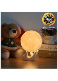 Pretty Cool Moon Lamp - Night Light 3.5IN With Ceramic Hand Stand 3D Printed with Safe PLA,Eye Caring LED,Dimmable and Rechargeable,Two Colors Touch Control,Cool Gift,Halloween Decoration 兰丘库卡蒙卡, 91737