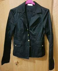 giacca button-up in pelle nera Roma, 00198