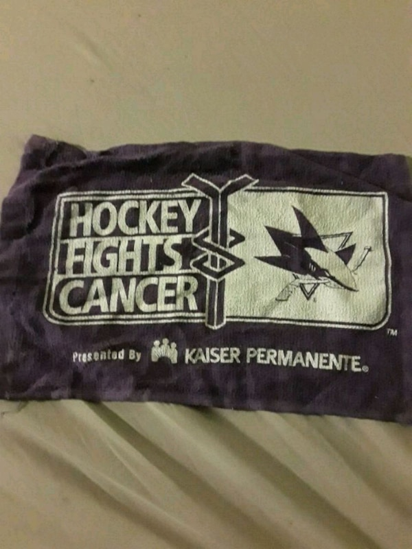 black and white Hockey Fights Cancer print scarf