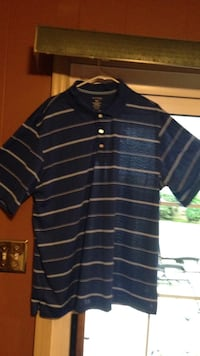 Men's blue and white Stripe printed polo shirt Roanoke, 24019