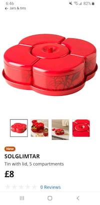 New tin with lid, 5 compartment