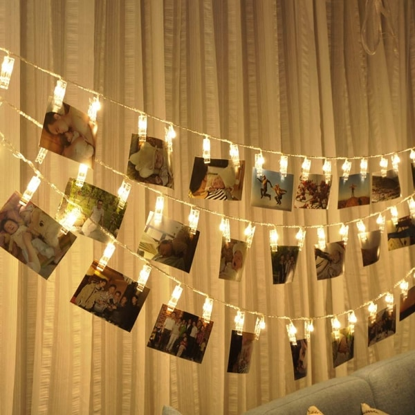 New 10 For 40 Photo Clips String Lights Battery Operated Fairy With