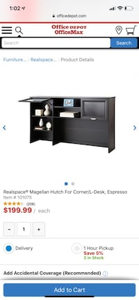 L shaped black desk Longwood, 32750