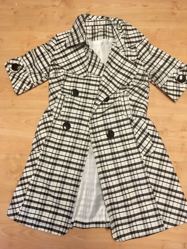 Black and white plaid double-breasted coat