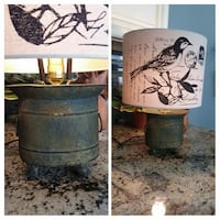 "Homemade lamp. Distressed, footed metal container lamp with 12"" wide beige/black bird shade, 18"" tall Lafayette"
