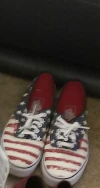 103cb3cbc Used pair of black-white-and-red Vans low-top sneakers for sale in Brazoria  County - letgo