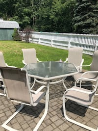 Rectangular white metal patio table with chairs set 268 mi