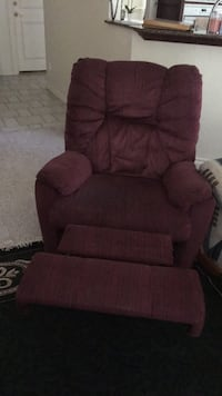 Red fabric recliner sofa chair