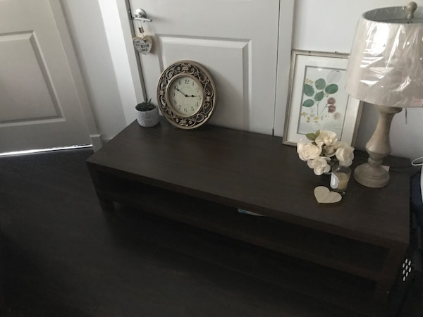 white and black wooden desk