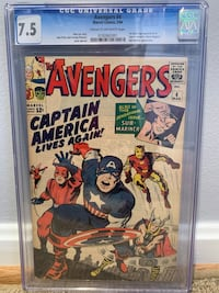 Silver Age 7.5 CGC Avengers 4 Comic Book Rockville, 20850