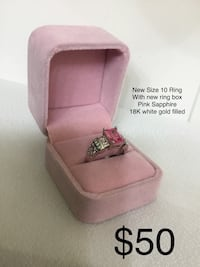 New Size 10 Pink Sapphire Ring, 18K Gold Filled, Ring Box Included Chesapeake, 23320