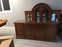 Wood china cabinet hutch like new