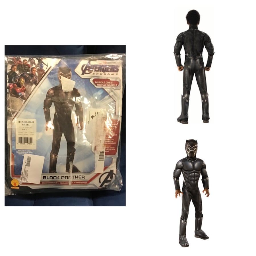 Boy's Deluxe Muscle Black Panther Halloween Costume Size: S