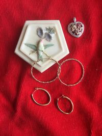 Assorted hoop earrings Gold over silver / sold separately 25 each / Heart pendant $28 Alexandria, 22311